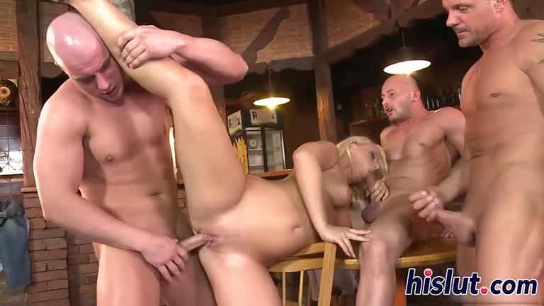 Pretty Soft Bodied Blonde Gets Rammaged By 4 Guys.