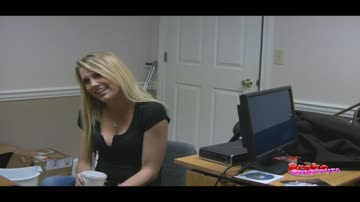 taylor earns some money at the agents office, with her mouth.
