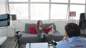 natalie happily lays on the casting couch-x.
