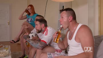 Eva Berger - Cramming Her Fuckholes - Redhead Banged By Three Soccer Fans